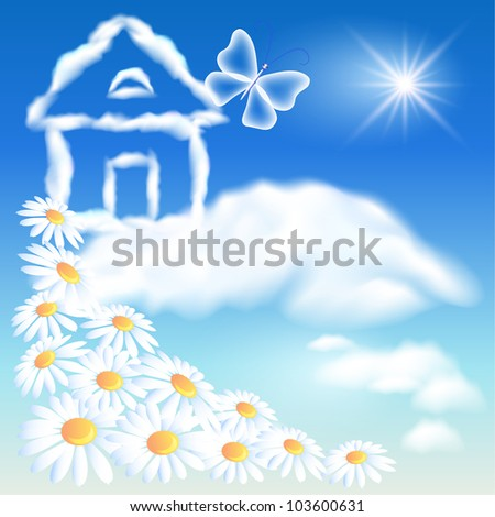 Cloud house in the sky and flowers. Raster version of vector. - stock photo
