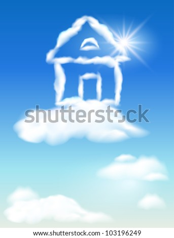 Cloud house in the sky and sun. Raster version of vector. - stock photo