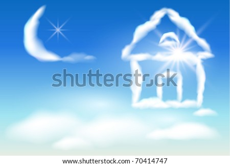 Cloud house in the sky and the moon. Raster version of vector. - stock photo