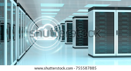 Cloud icon downloading datas and informtations in server room center interior 3D rendering