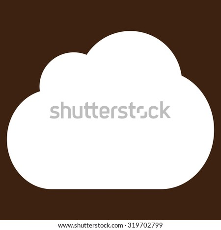 Cloud icon from Primitive Set. This isolated flat symbol is drawn with white color on a brown background, angles are rounded.