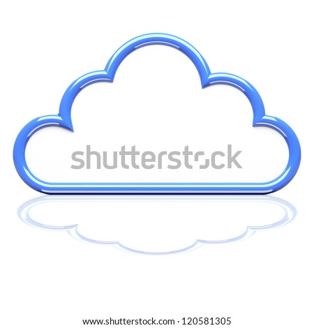 Cloud icon on white. 3d render illustration - stock photo