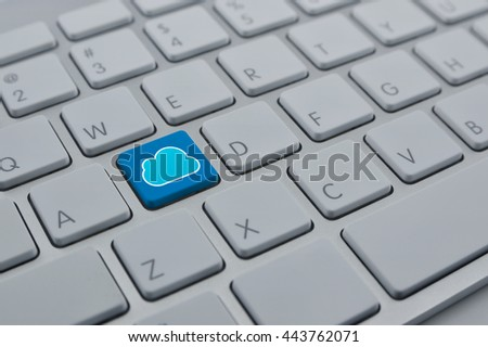 Cloud icon with copy space on modern computer keyboard button, Cloud computing network concept - stock photo