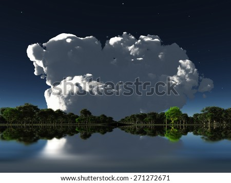 Cloud in distance over water - stock photo