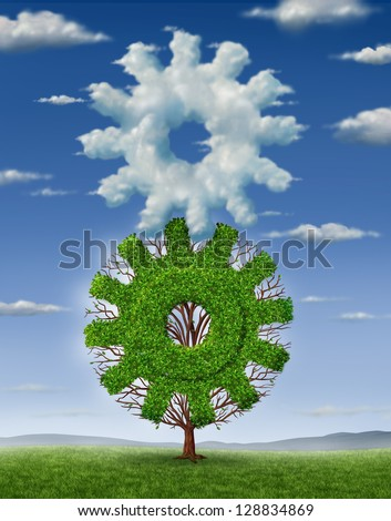 Cloud industry technology and business concept as clouds in the shape of a gear and a  tree shaped as a cog coming together connected as a team to work as partners for information management success. - stock photo