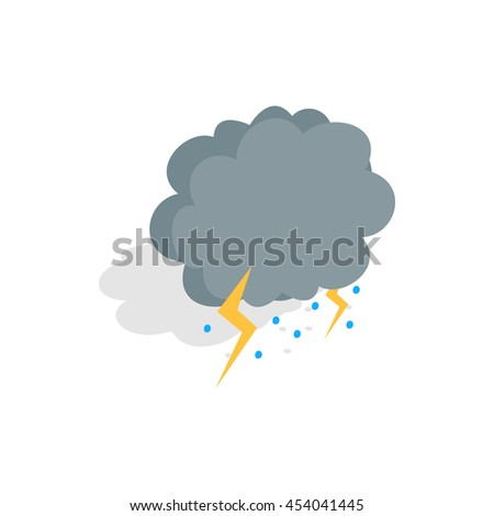 Cloud, lightning and hail icon in isometric 3d style on a white background - stock photo