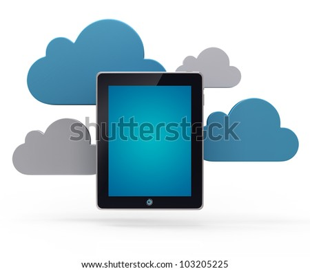 Cloud network and the digital tablet pc. Conceptual image.
