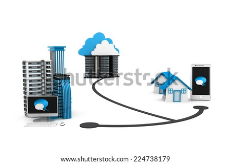 Cloud network concept - stock photo