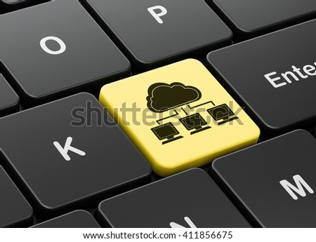 Cloud networking concept: computer keyboard with Cloud Network icon on enter button background, 3D rendering - stock photo