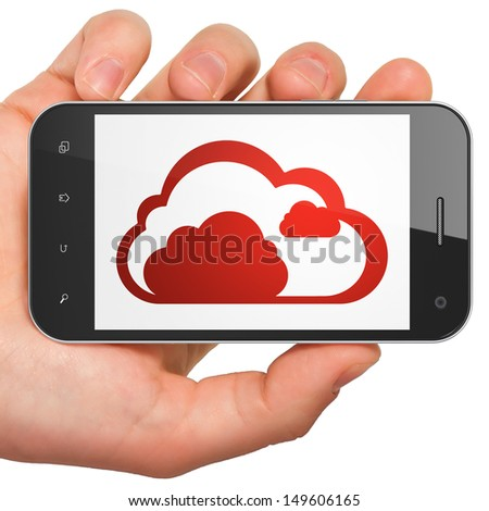 Cloud networking concept: hand holding smartphone with Cloud on display. Mobile smart phone in hand on White background, 3d render