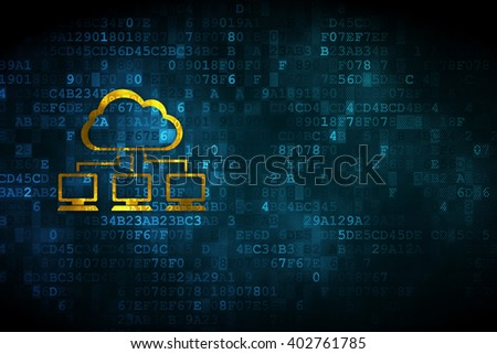 Cloud networking concept: pixelated Cloud Network icon on digital background, empty copyspace for card, text, advertising - stock photo