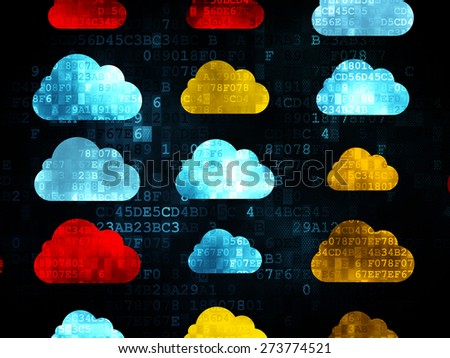 Cloud networking concept: Pixelated multicolor Cloud icons on Digital background, 3d render - stock photo