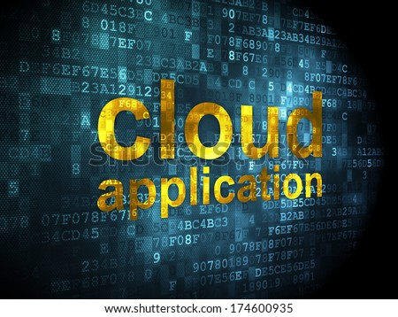 Cloud networking concept: pixelated words Cloud Application on digital background, 3d render