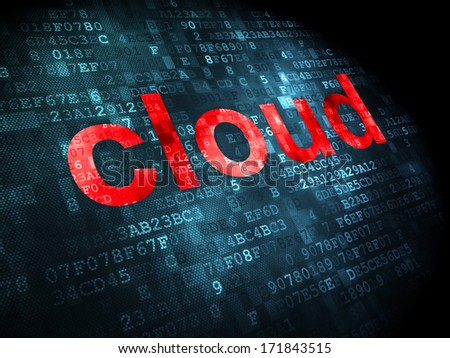 Cloud networking concept: pixelated words Cloud on digital background, 3d render