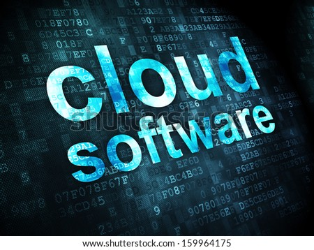 Cloud networking concept: pixelated words Cloud Software on digital background, 3d render