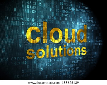 Cloud networking concept: pixelated words Cloud Solutions on digital background, 3d render