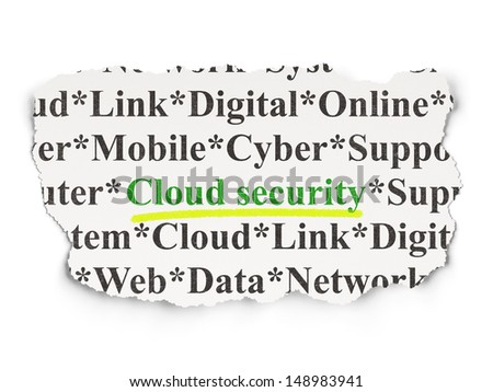 Cloud networking concept: torn newspaper with words Cloud Security on Paper background, 3d render