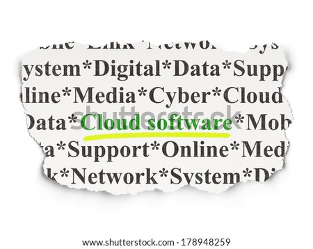 Cloud networking concept: torn newspaper with words Cloud Software on Paper background, 3d render