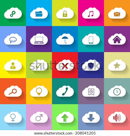 Cloud networking flat icon set with various symbols - stock photo