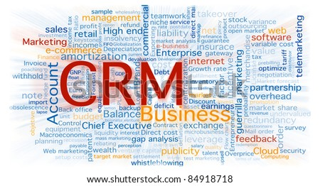 Cloud of business words centered in the CRM software concept. Background isolated on white with a blurred zoom over the words. - stock photo