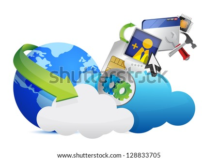 cloud of colorful application icons isolated on white background - stock photo