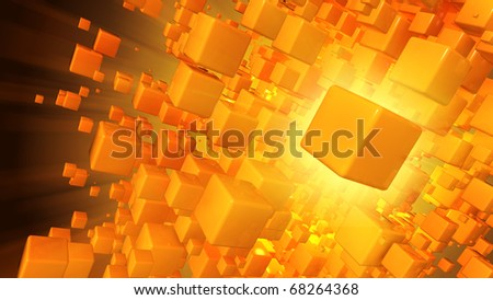 Cloud of cubic particles - stock photo