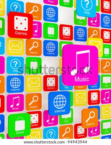 Cloud of Smart Phone Application Icons