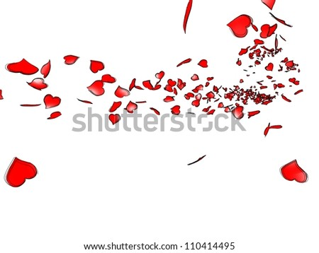 Cloud of stylized red earths blowing in the wind, referring to notions such as love, wedding, valentine�s day, as well as mother�s day - stock photo
