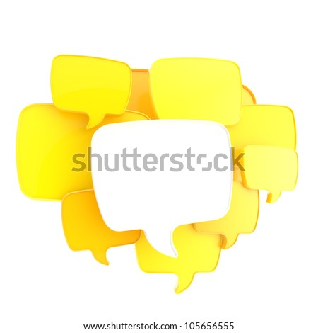 Cloud of text bubbles, yellow and orange, grouped as copyspace empty plate glossy banner background isolated on white - stock photo