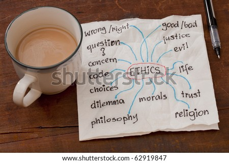 cloud of words related to ethics on a napkin with a cup of coffee on weathered wooden table - stock photo