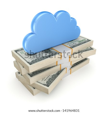 Cloud on a stack of dollars.Isolated on white.3d rendered. - stock photo