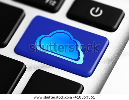 Cloud on computer keyboard. Cloud storage concept - stock photo