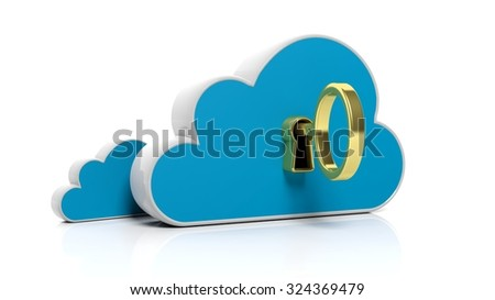 Cloud online storage icon with golden key, isolated on white