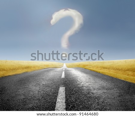 Cloud over a road forming a question mark - stock photo