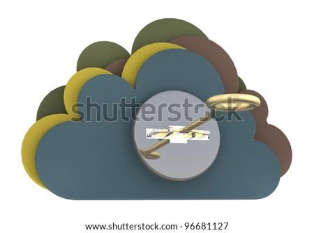 Cloud security concept. 3D render - stock photo