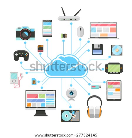 Cloud server and sync of electronic devices. Tablet and phone, smartphone and flash, hard drive and card memory - stock photo