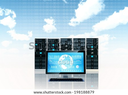 Cloud server concept with a monitor screen and a server rack on behind - stock photo