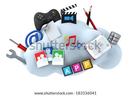 Cloud server hosting concept 3d illustration - stock photo