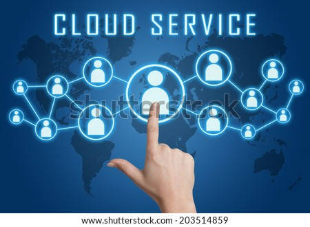 Cloud Service concept with hand pressing social icons on blue world map background. - stock photo