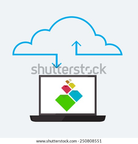 Cloud service image in flat style - stock photo
