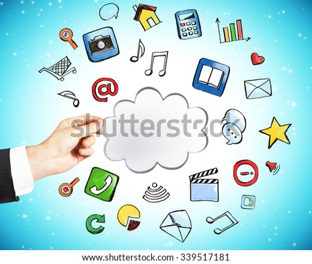 Cloud service technology concept with man hand - stock photo