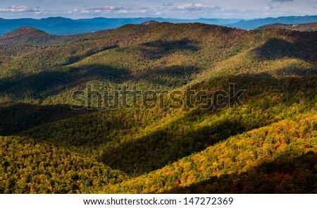 Cloud shadows on the Blue Ridge, seen from Blackrock Summit, along the Appalachian Trail in Shenandoah National Park, Virginia. - stock photo