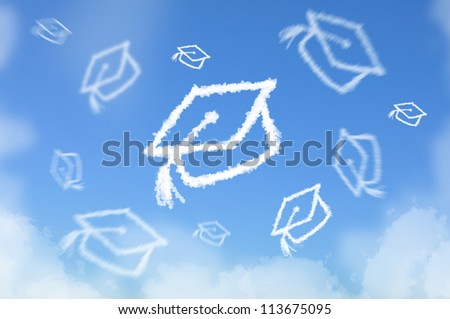 Cloud shaped as graduated hat threw in sky , dreaming concept - stock photo