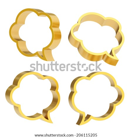 Cloud shaped golden text bubble shapes isolated over the white background, set of four foreshortenings - stock photo