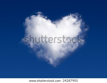 Cloud-shaped heart on a sky - stock photo