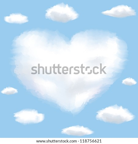 Cloud shaped heart on a sky. Background with clouds