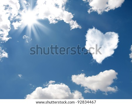 Cloud-shaped heart on a sky.  Valentine's Day