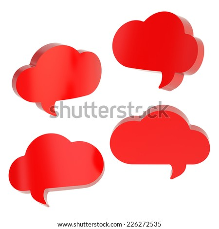 Cloud shaped red text bubble shapes isolated over the white background, set of four foreshortenings - stock photo