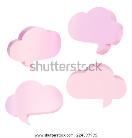 Cloud shaped text bubble pink shapes isolated over the white background, set of four foreshortenings - stock photo
