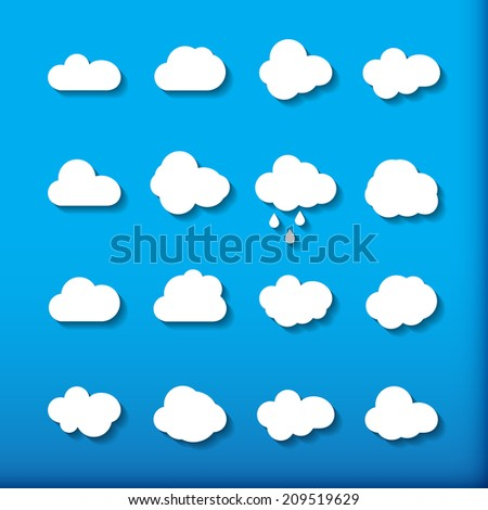 Cloud shapes collection. Cloud icons for cloud computing web and app. - stock photo
